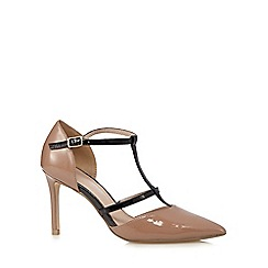J by Jasper Conran - Natural patent T-bar high heeled court shoes