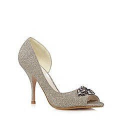 No. 1 Jenny Packham - Gold glitter high stiletto heel peep toe shoes