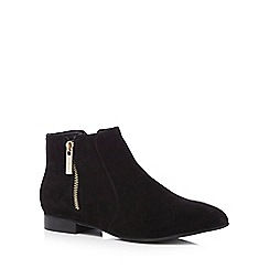 J by Jasper Conran - Black suede zip up ankle boots