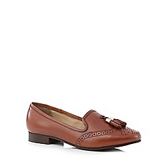 J by Jasper Conran - Tan brogue leather slip on shoe