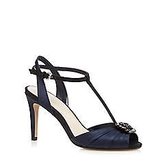 No. 1 Jenny Packham - Navy high stiletto heel T-Bar peep toe shoes