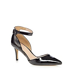 J by Jasper Conran - Black patent ankle strap court shoes
