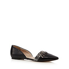 J by Jasper Conran - Black leather two part slip-on shoes