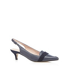 J by Jasper Conran - Navy leather pointed low heel shoes