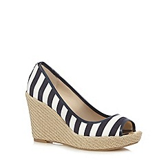 Principles by Ben de Lisi - Blue striped espadrille high wedge shoes