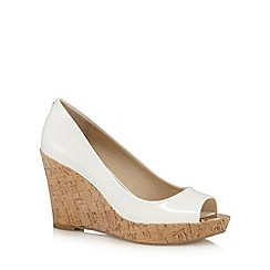 Principles by Ben de Lisi - White patent high wedge peep toe court shoes