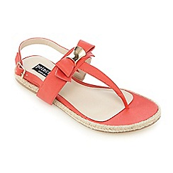 Principles by Ben de Lisi - Coral bow applique T-bar flat sandals