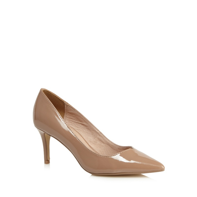 Womens J by Jasper Conran Beige Patent Court Shoes, Womens,