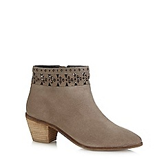 Nine by Savannah Miller - Taupe 'Saskia' suede ankle boots