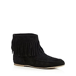 Nine by Savannah Miller - Black suede blend fringed ankle boots