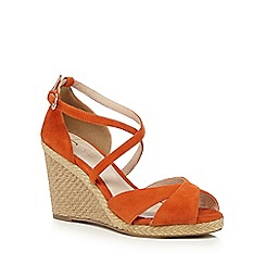J by Jasper Conran - Orange suede high wedge sandals