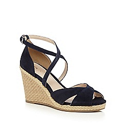 J by Jasper Conran - Navy suede high wedge sandals