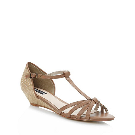 Principles by Ben de Lisi - Designer tan woven mid wedge sandals