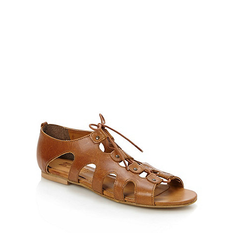 Betty Jackson.Black - Designer tan leather lace up sandals