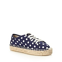 H! by Henry Holland - Designer navy spotted lace up espadrilles