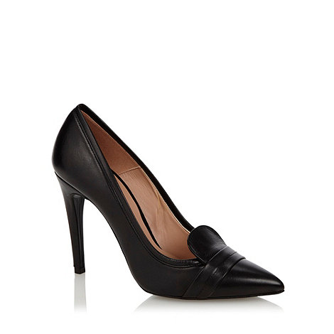 J by Jasper Conran - Black leather pointed toe high heeled court shoes