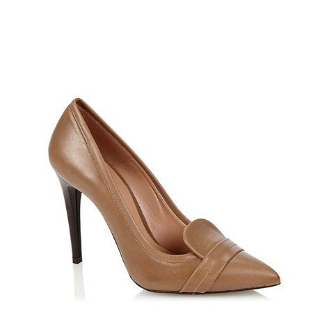 J by Jasper Conran - Brown leather pointed toe high heeled court shoes
