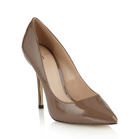 J by Jasper Conran - Light brown patent high heel pointed toe court shoes