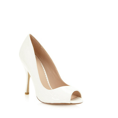 J by Jasper Conran - Designer white asymmetric patent high court shoes