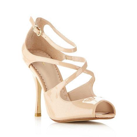 J by Jasper Conran - Designer beige patent cross over strap high sandals