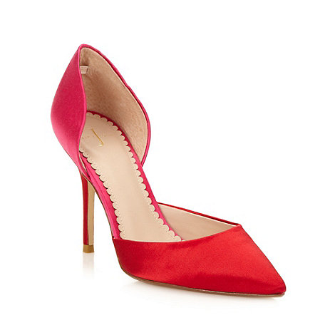 J by Jasper Conran - Designer red high colour block satin court shoes