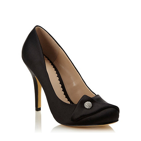 J by Jasper Conran - Designer black high folded satin court shoes