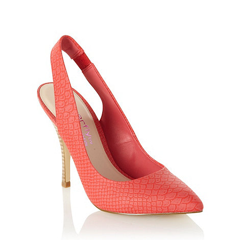 Butterfly by Matthew Williamson - Designer peach faux snakeskin high heel court shoes