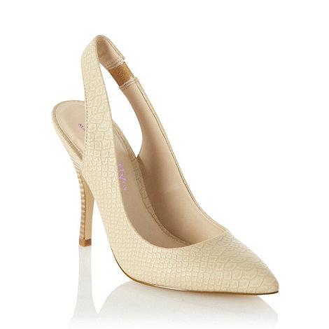 Butterfly by Matthew Williamson - Designer cream faux snakeskin high heel court shoes