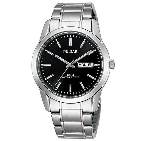 Pulsar - Men+s black round dial stainless steel bracelet watch
