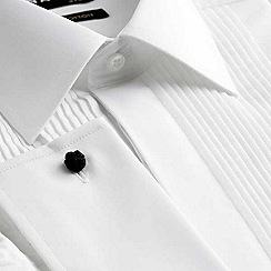 Black Tie - Big and tall white regular fit long sleeve dress shirt