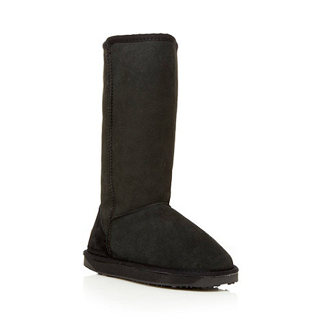 Just Sheepskin - Black long length sheepskin boots