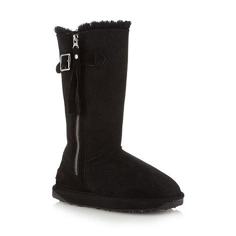 Just Sheepskin - Black long length sheepskin boots