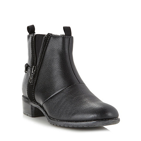 Hush Puppies - Black leather zip ankle boots