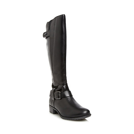 Hush Puppies - Black leather knee high buckle boots