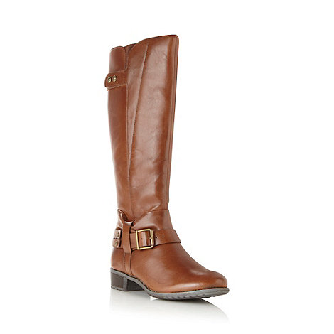 Hush Puppies - Tan leather knee high buckle boots