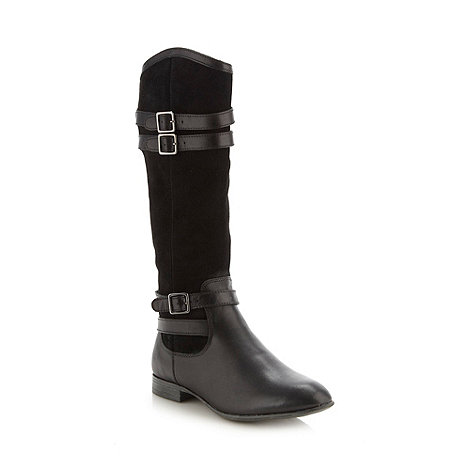 Hush Puppies - Black leather suede high buckle low heel boots