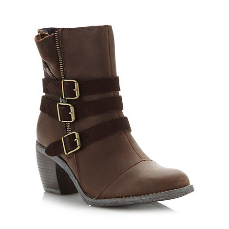 Hush Puppies - Brown leather triple buckle mid ankle boots