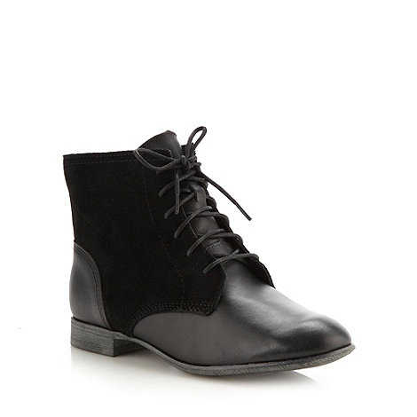 Hush Puppies - Black mixed leather lace up ankle boots