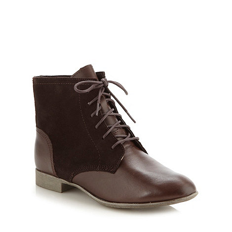 Hush Puppies - Dark brown mixed leather lace up ankle boots