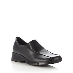 Clarks - Black 'idana' leather mid wedge shoes
