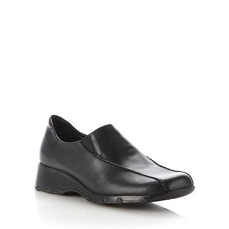 Clarks - Black +idana+ leather mid wedge shoes