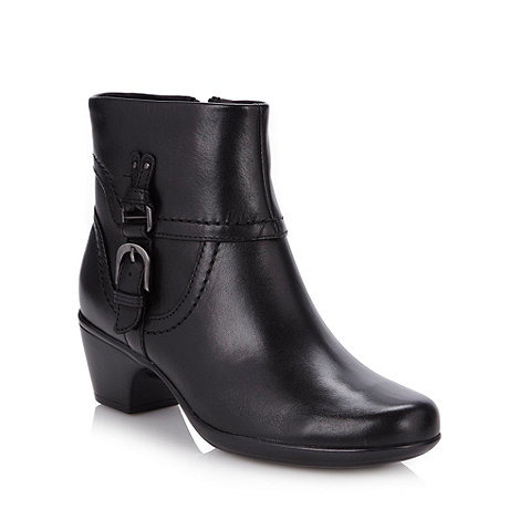 Clarks - Black leather ankle boots