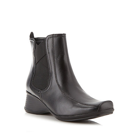 Clarks - Black leather +Libson Sky+ mid wedge boots