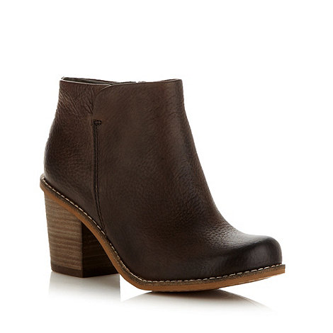 Clarks - Brown +marble cool+ leather mid heel ankle boots
