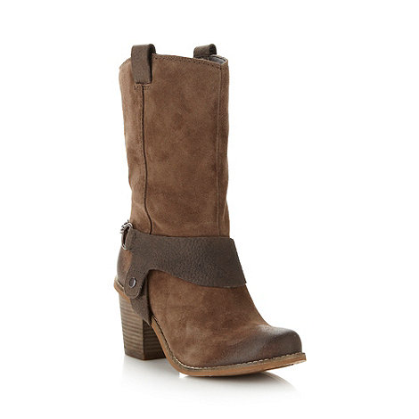 Clarks - Brown suede heeled calf boots