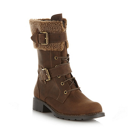 Clarks - Brown leather 'Orinoco Prize' buckle fleece mid heel boots