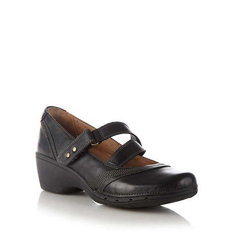 Clarks - Black +galley+ leather mid wedge shoes