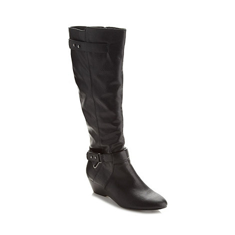 Call It Spring - Black 'CIS-ANNOR' long length mid heeled boots