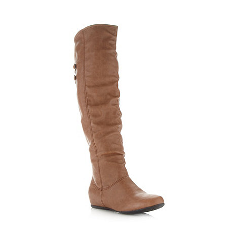 Call It Spring - Tan +Clairday+ concealed wedge knee high boots