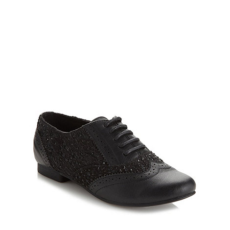 Call It Spring - Black 'Tehuacan' lace detail low heel brogue shoes